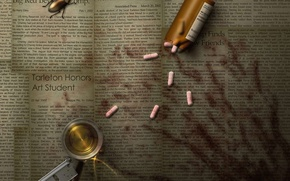 Picture beetle, blade, newspaper, pills, traces of blood