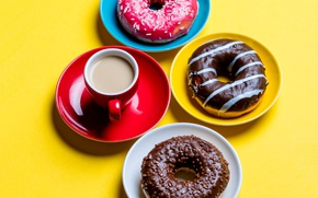 Picture Chocolate, Coffee, Cup, Donuts, Cakes, Colored Background, Taratarini