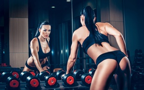 Picture brunette, mirror, workout, fitness