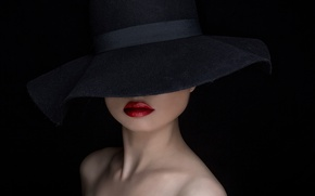 Picture background, portrait, hat, makeup, The Hat