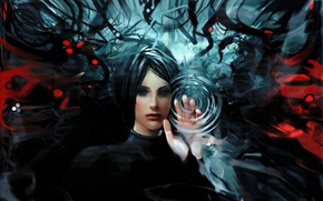 Picture water, girl, circles, abstraction, art