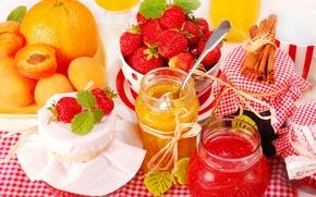 Picture orange, strawberry, banks, cinnamon, apricot, jam, orange, strawberry, jam, jam, cinnamon, apricot