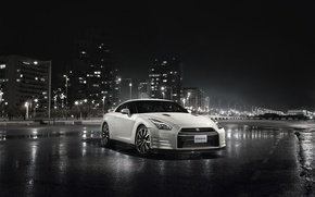 Picture night, the city, Nissan, GT-R, skyscrapers, R35
