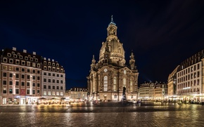 Picture night, the city, people, Germany, Dresden, lighting, area, lights, monument, Dresden, Germany