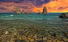 Picture sea, the sky, stones, rocks