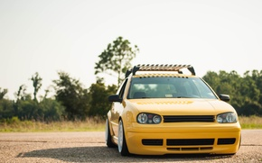 Picture yellow, tuning, volkswagen, Golf, golf, the front, gti