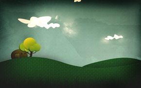 Wallpaper vector, art, abstraction, collage, weed, tree, toon, the sky