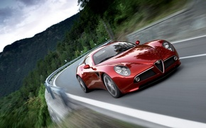 Wallpaper red, road, Alfa Romeo 8С, mountains, speed