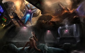 Picture dreams, gun, bed, mass effect 2, Shepard, cabin, nightmares