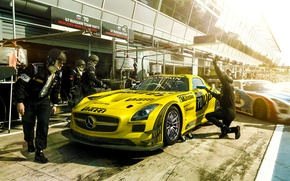 Picture Mercedes-Benz, Race, AMG, SLS, GT3, Yellow, Team, Russian, Stop, Pit, Viatti