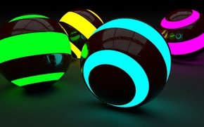 Picture neon, Balls, render, DMiTRY64RuS