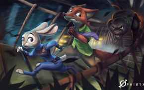Wallpaper Nick Wild, art, judy hopps, Disney, Zootopia