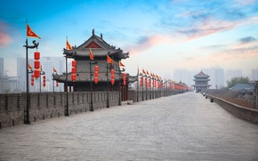 Picture road, clouds, home, China, flags