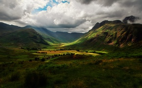Wallpaper the sky, clouds, light, mountains, clouds, hills, field, England, valley, shadows