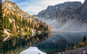 Picture mountains, lake, reflection, Blue lake, Washington, Washington, The cascade mountains, North Cascades National Park, Cascade …