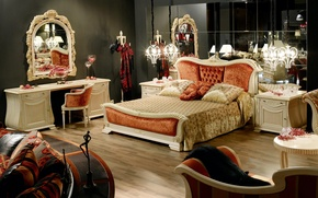 Picture design, style, bed, interior, pillow, mirror, bedroom