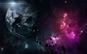 Picture space, fragments, Planet, meteorites, phenomenon
