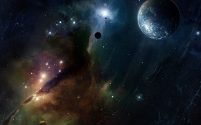Picture stars, nebula, planet