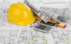 Picture pearls, blueprints, calculator, civil engineering