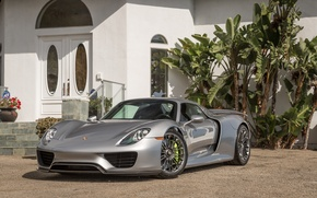 Picture car, silver, porsche, 918, super