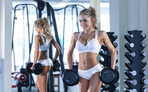Picture blonde, pose, fitness, workout, dumbbell, gym, small