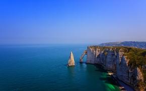Picture shore, France, horizon, rock, blue sky, Etretat, Étretat, more