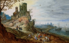Picture castle, picture, Jan Brueghel the younger, Port Landscape with Ruins