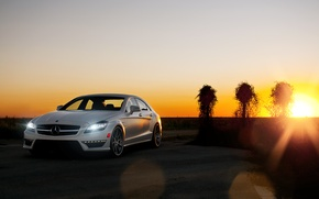 Picture white, the sky, the sun, sunset, Mercedes-Benz, white, Blik, AMG, Mercedes Benz, CLS-class, C218, CLS …