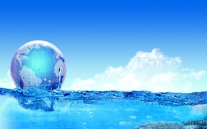 Wallpaper sea, water, clouds, collage, ball, Earth