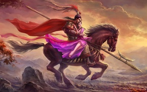 Picture girl, horse, armor, dress, warrior, Male