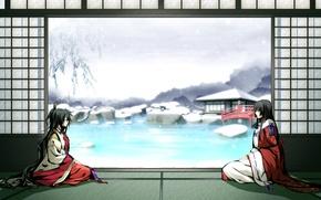 Picture winter, snow, bridge, pond, girls, kimono, game, g yuusuke