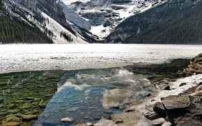 Picture ice, water, mountains, reflection, stones