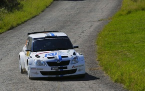 Picture Road, White, Asphalt, Rally, Rally, The front, Skoda, Fabia, Competition