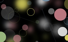 Picture black, background, abstraction, blue, glare, circles, pink