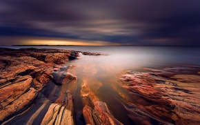Picture clouds, lake, stones, texture, excerpt, Sweden