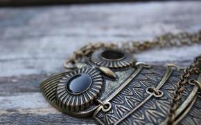 Picture owl, pendant, decoration, chain