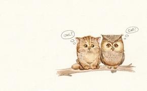 Picture mood, owl, meeting, cat, branch, art, children's, sovushka, familiarity, Inga Paltser, Inga, Pelzer