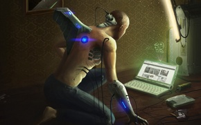 Picture wire, male, laptop, Android, floppy, hard drive