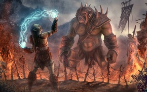 Picture fantasy, magic, armor, dead, art, background, body, troll, orc, heads