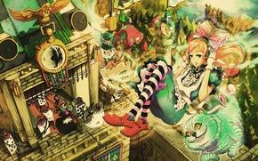 Picture cat, anime, art, girl, Alice in Wonderland