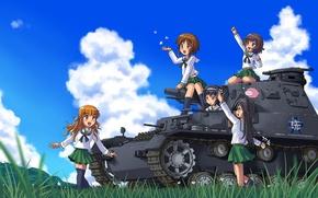 Picture summer, the sun, girls, anime, art, tank