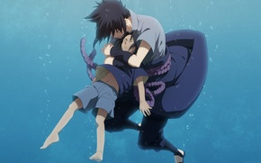Picture anime, boy, art, naruto, guy, naruto, under water, uchiha sasuke, sebauchihaotaku