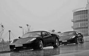 Picture rain, the building, Ferrari, Ferrari, f430, rain, black and white, F430, building