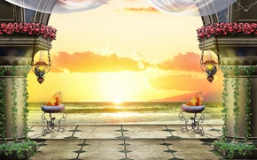 Picture sea, sunset, the evening, columns, terrace, lamps