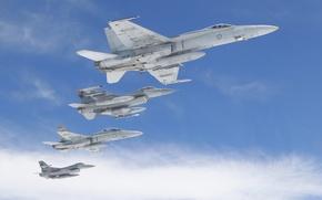 Wallpaper the sky, flight, the plane, aircraft, General Dynamics F-16 Fighting Falcon, McDonnell Douglas F/A-18 Hornet