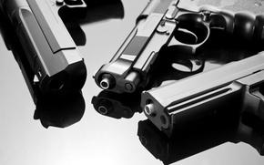 Picture reflection, weapons, gun, three guns