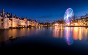 Picture Hague, home, trees, lights, Netherlands, night, lights, promenade, river