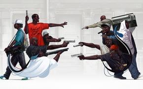 Picture gun, weapons, rap, gangsta, rap, hip hop, boombox, Michal Lisowski