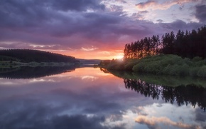 Picture forest, the sky, water, clouds, trees, sunset, clouds, surface, reflection, shore, the evening, UK, Wales, ...