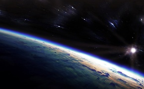 Picture stars, dawn, the universe, planet, the atmosphere